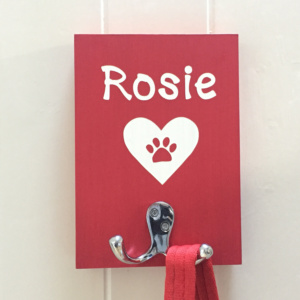 Dog Lead Holder Personalised Heart
